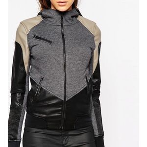 Blank NYC Vegan Leather French Terry Hoodie Jacket